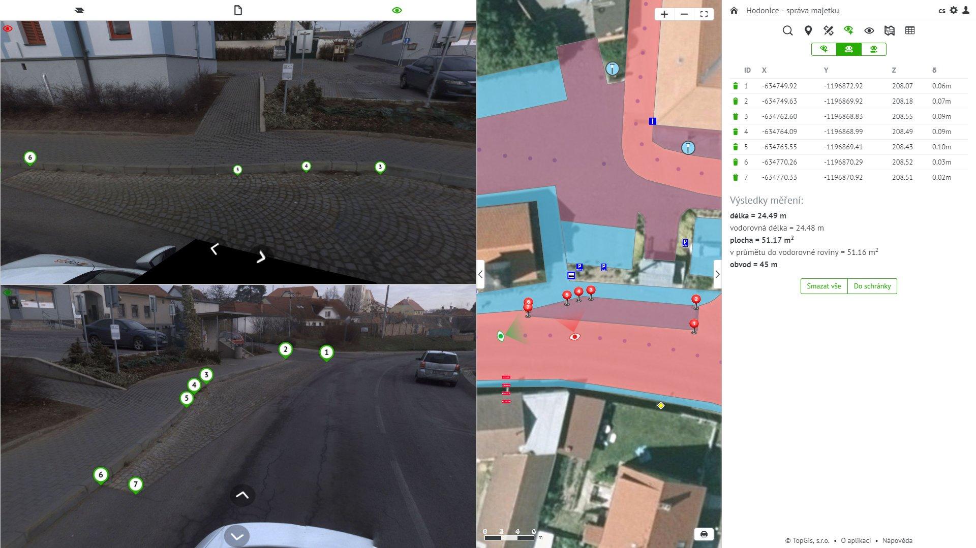 Ukázka zobrazení různých pasportů majetku s možností kontroly v panoramatickém snímku